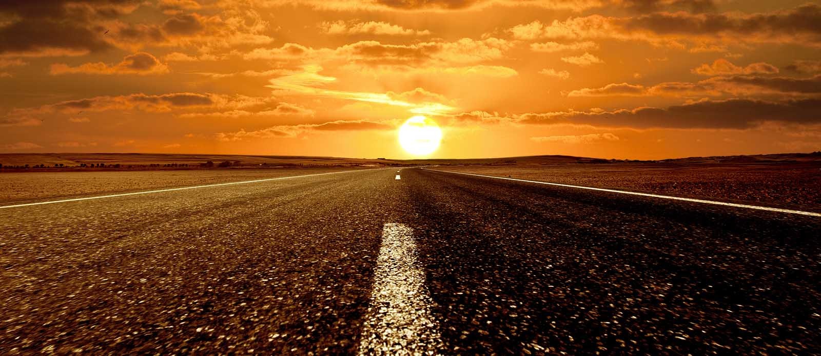 New Road ahead and the sunset 18865685